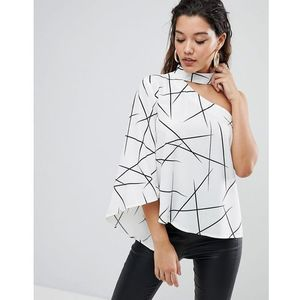 Parallel lines asymmetric top with high neck in abstract print - multi