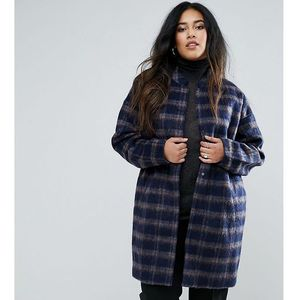 plus coat in check with belt - multi marki Junarose