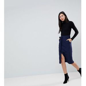 tailored pencil skirt with obi tie - navy marki Asos tall