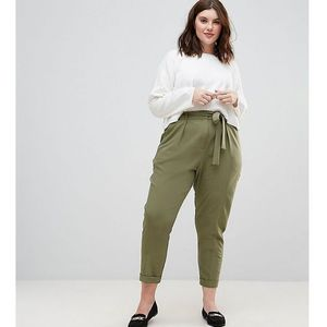Asos curve woven peg trousers with obi tie - green