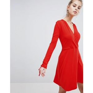 Boohoo wrap skater dress - red