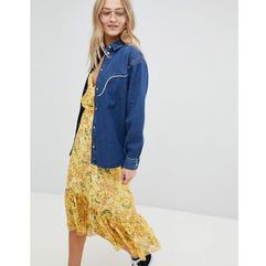 Asos denim western shirt with piping - blue, Asos design