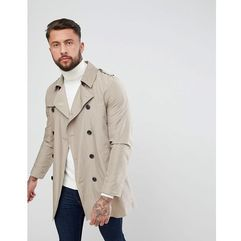 shower resistant double breasted trench coat in stone - stone marki Asos