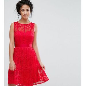 lace skater dress with pleated skirt - red marki Little mistress petite