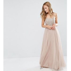 Maya cami strap maxi dress with tulle skirt and embellishment - brown