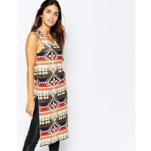 Kiss The Sky Midi Tabbard with Side Splits in Aztec Print - Multi, w 2 rozmiarach