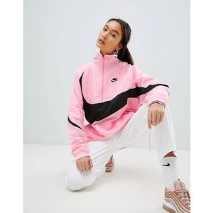 vaporwave oversized half zip track jacket in pink with large swoosh - pink, Nike, 36-42