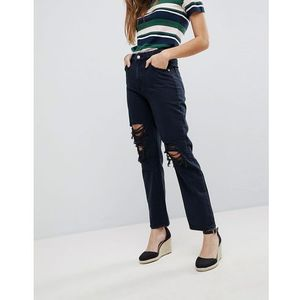 Rolla's Original Straight High Waisted Jean with Ripped Knee - Black, kolor czarny