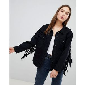 Pimkie Tassel Detail Oversized Denim Jacket - Black, 1 rozmiar