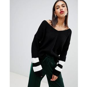 Boohoo v neck contrast stripe jumper in black - Black, kolor czarny