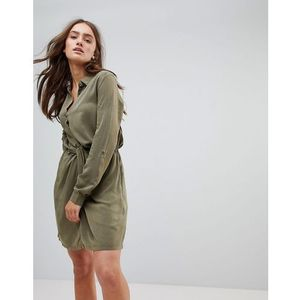 Pepe jeans twisted knot shirt dress - green
