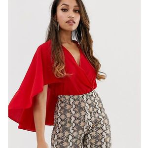 wrap front body with cape sleeve detail in red - white marki Boohoo petite