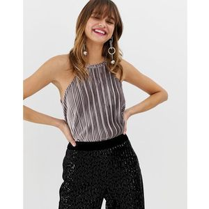 River Island velvet plisse top in grey - Grey
