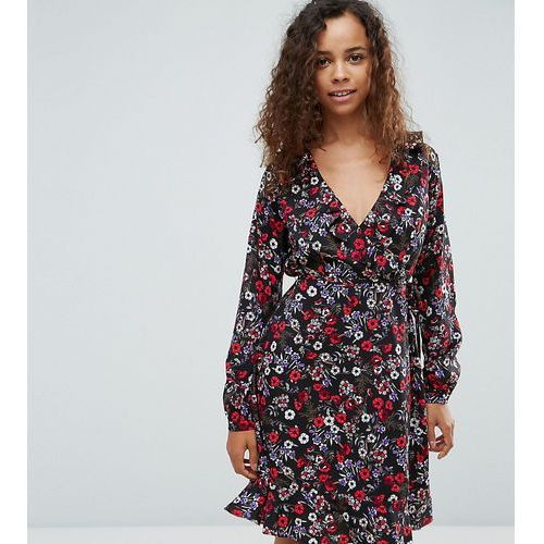 Yumi Petite Ruffle Wrap Dress In Floral - Navy