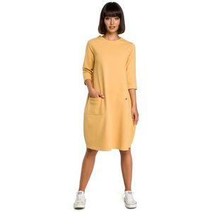 1385521efe Żółta luźna sukienka bombka z ozdobnymi przeszyciami