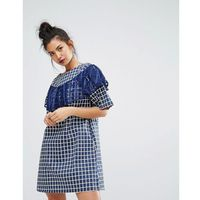 gingham check dress with ruffle detail - blue marki Ziztar