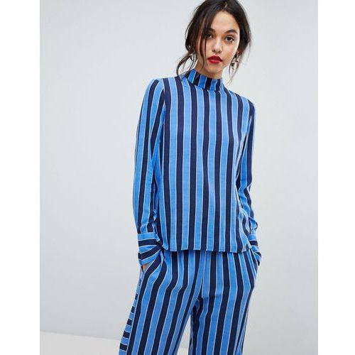 Y.A.S High Neck Striped Woven Top - Blue